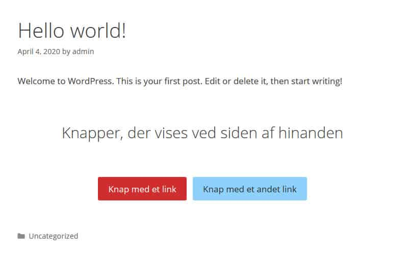 WordPress version 5.4 - ny knapper blok. 9bureau.dk
